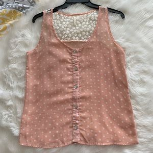 B Jewel • Peach Lace Back Tank
